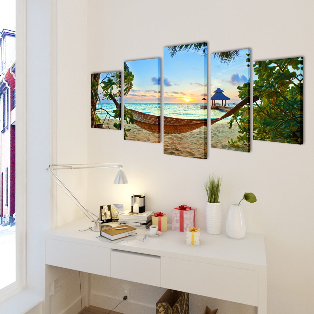 """Picture of Canvas Wall Print Set Sand Beach with Hammock 79"""" x 39"""""""