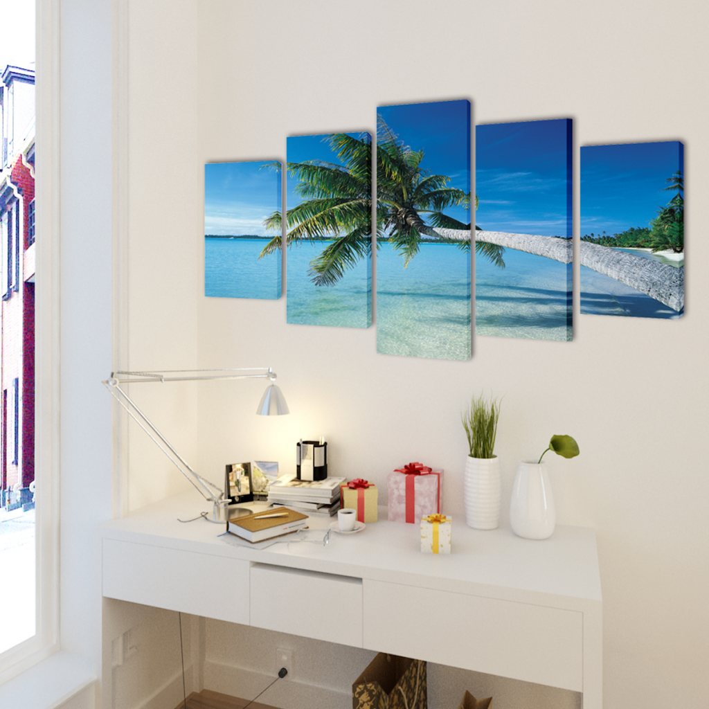 "Picture of Canvas Wall Print Set Sand Beach with Palm Tree 79"" x 39"""