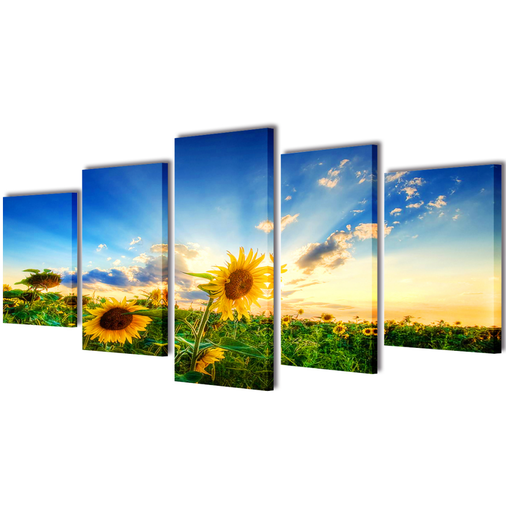 """Picture of Canvas Wall Print Set Sunflower 39"""" x 20"""""""