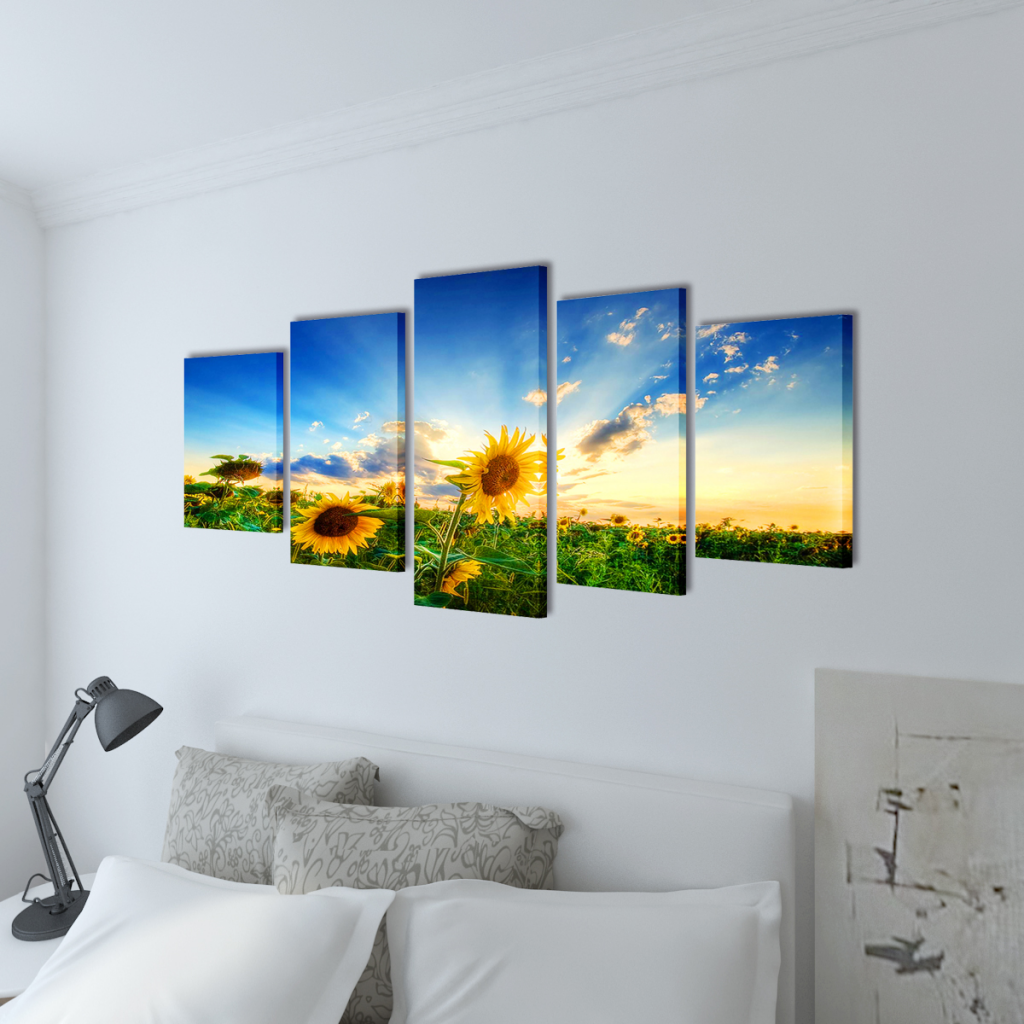 """Picture of Canvas Wall Print Set Sunflower 79"""" x 39"""""""