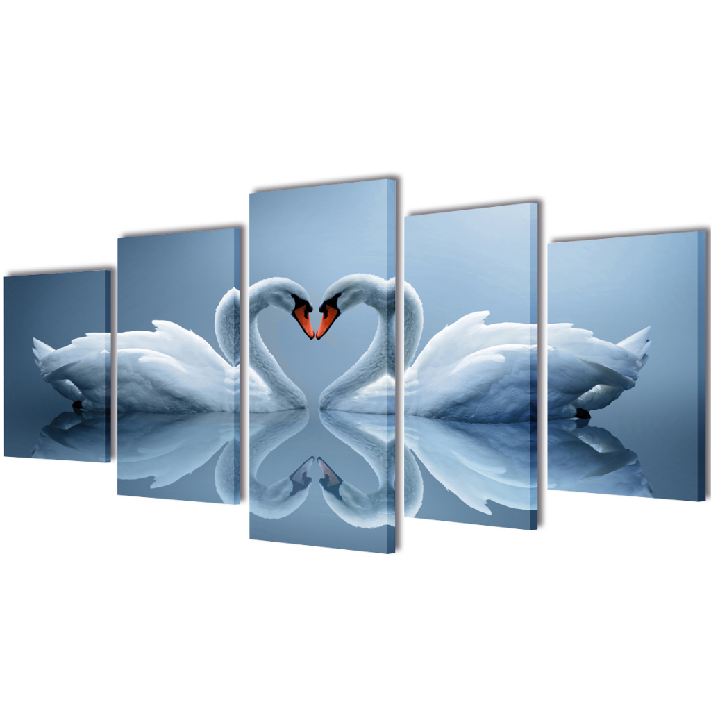 "Picture of Canvas Wall Print Set Swan 79"" x 39"""