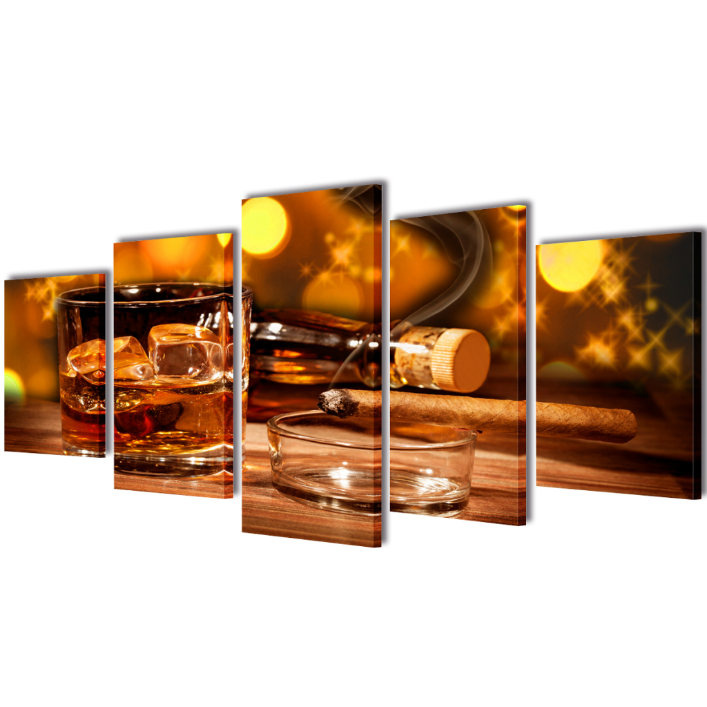 """Picture of Canvas Wall Print Set Whiskey and Cigar 39"""" x 20"""""""