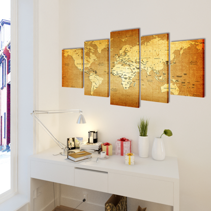 """Picture of Canvas Wall Print Set World Map 39"""" x 20"""""""