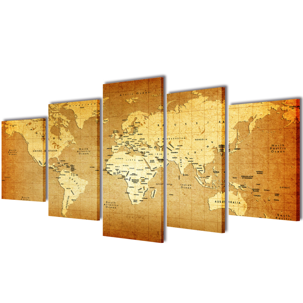 "Picture of Canvas Wall Print Set World Map 39"" x 20"""