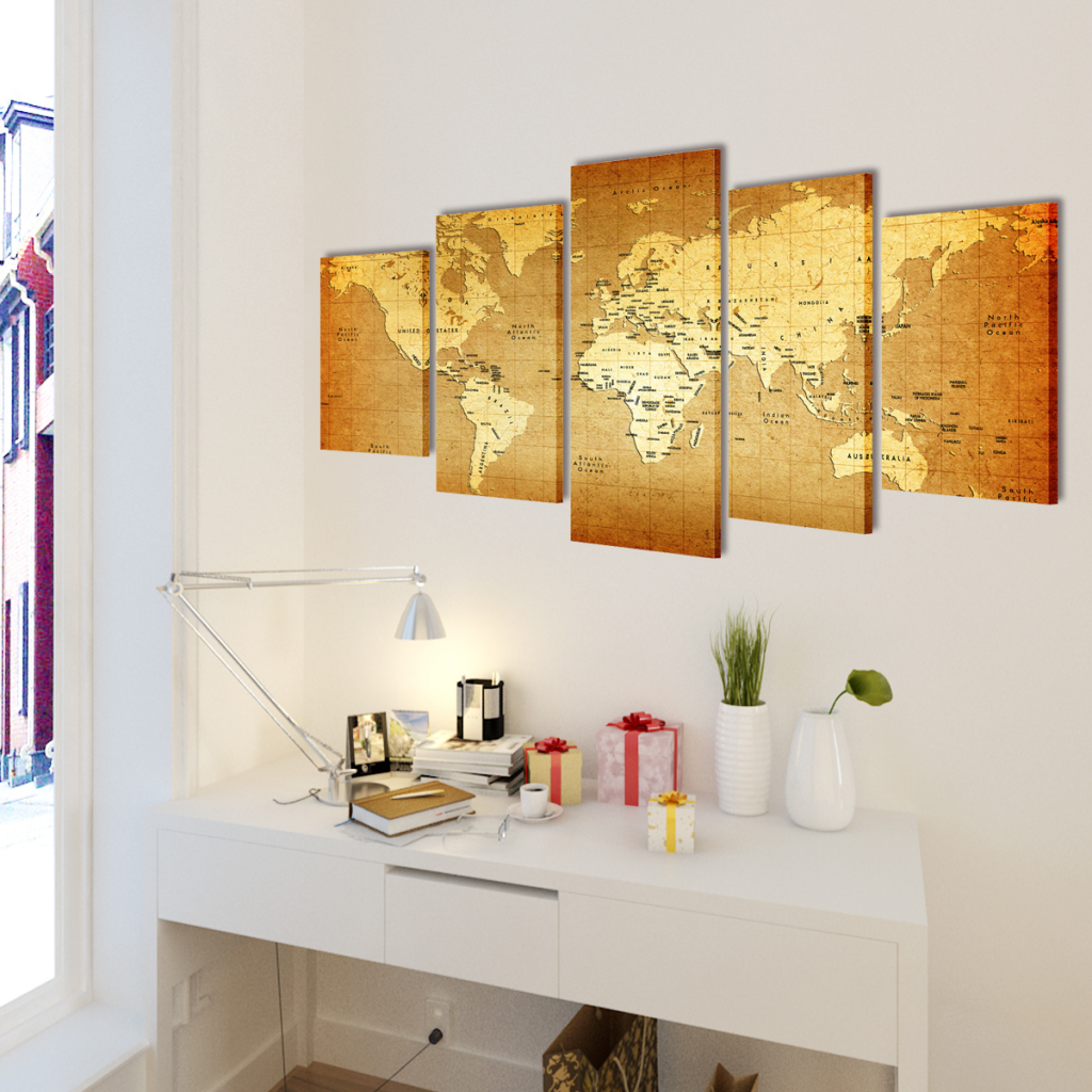 """Picture of Canvas Wall Print Set World Map 79"""" x 39"""""""