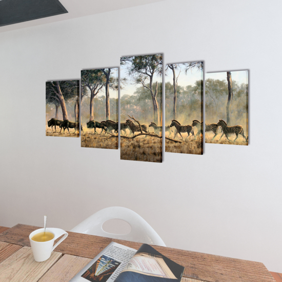 "Picture of Canvas Wall Print Set Zebras 39"" x 20"""