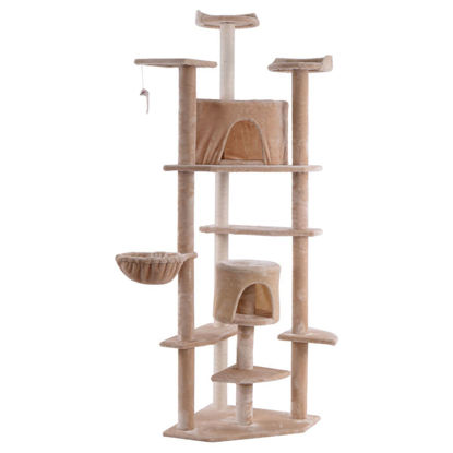 "Picture of Cat Tree Condo Furniture Scratch Pet House 80"" Beige"