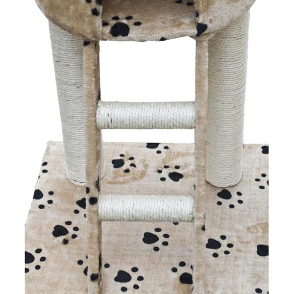 """Picture of Cat Tree Deluxe 90"""" - 102"""" Beige with Paw Prints Plush"""