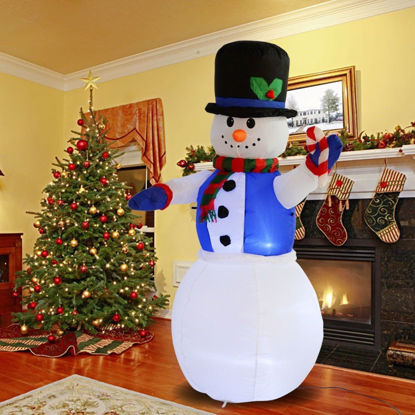 Picture of Christmas Inflatable Snowman Decor Lighted Lawn Yard Outdoor Airblown 5.3 Ft