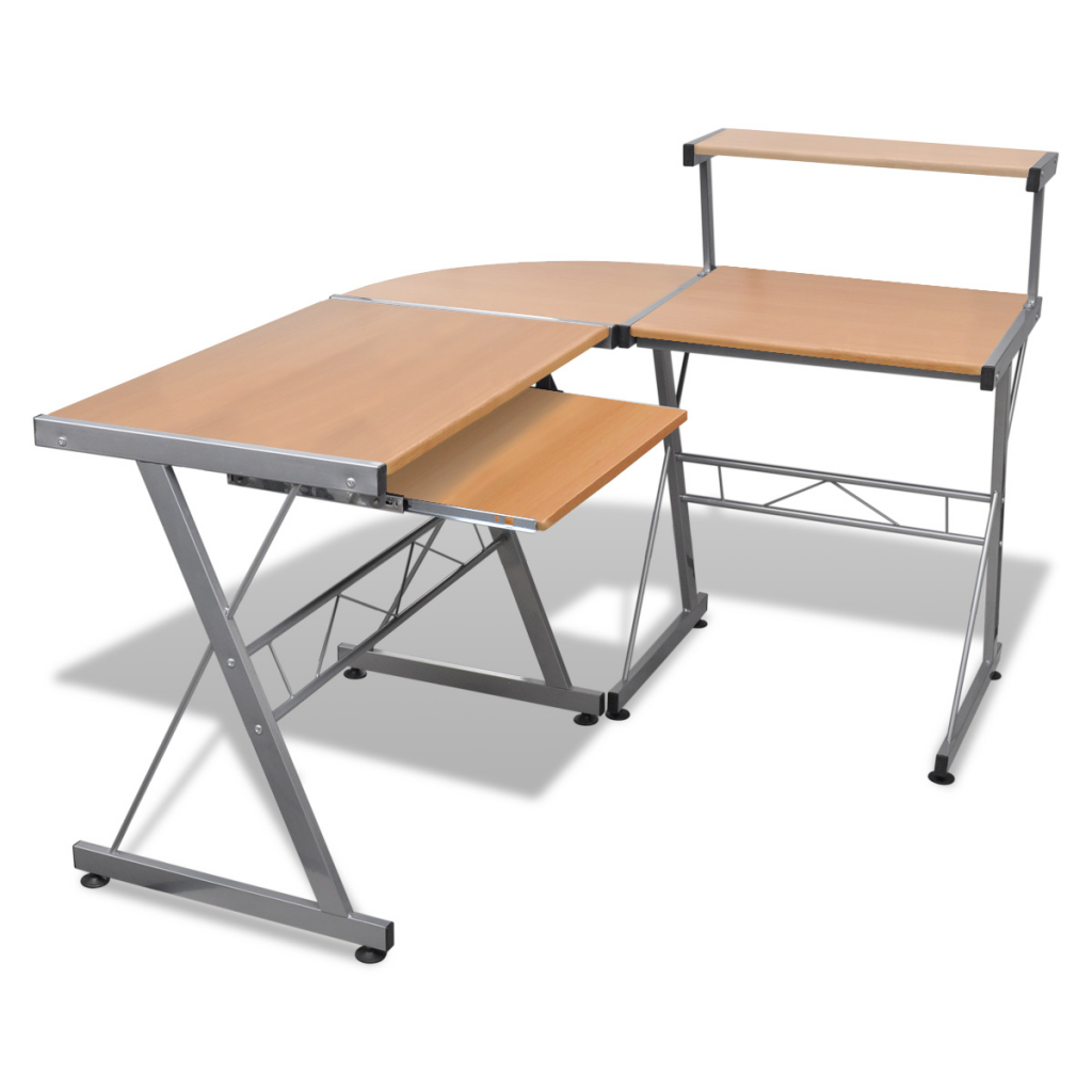 Picture of Computer Desk Workstation With Pull Out Keyboard Tray - Brown