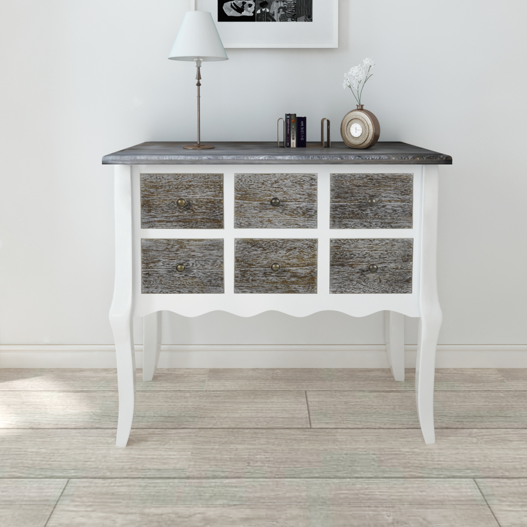 Picture of Console Cabinet 6 Drawers White Wooden