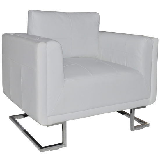 Picture of Contemporary Luxury Leather Cube Armchair with Chrome Feet - White