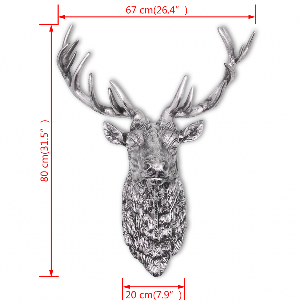 Picture of Deer Head Decoration Wall-Mounted Aluminum Silver