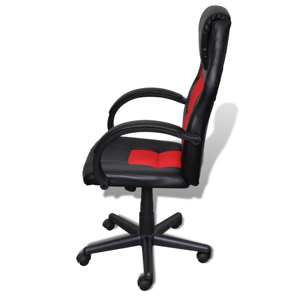 Picture of Desk Office Chair Artificial Leather Swivel Adjustable Height - Red