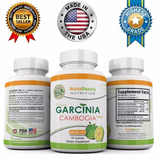 Picture of Diet Pill Fat Burner Weight Loss Garcinia Cambogia Extract 100% Pure Original Extreme 60% HCA 1300mg