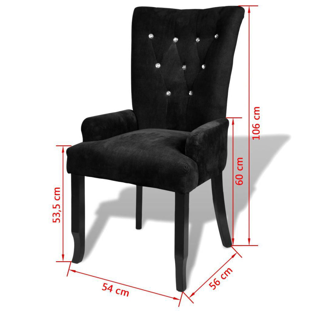 Picture of Dining Armchair - Velvet- Coated Black