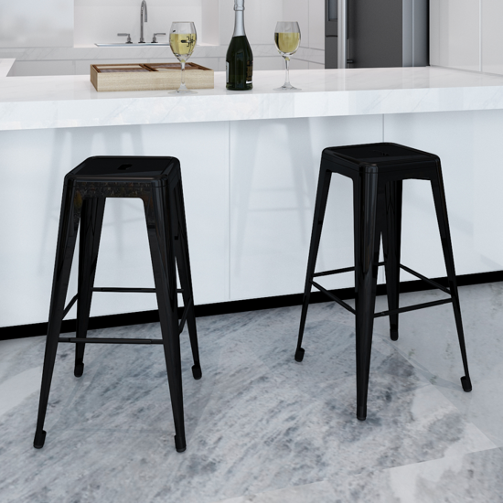 Picture of Dining Bar Chair High Stool Square - 2 pcs Black