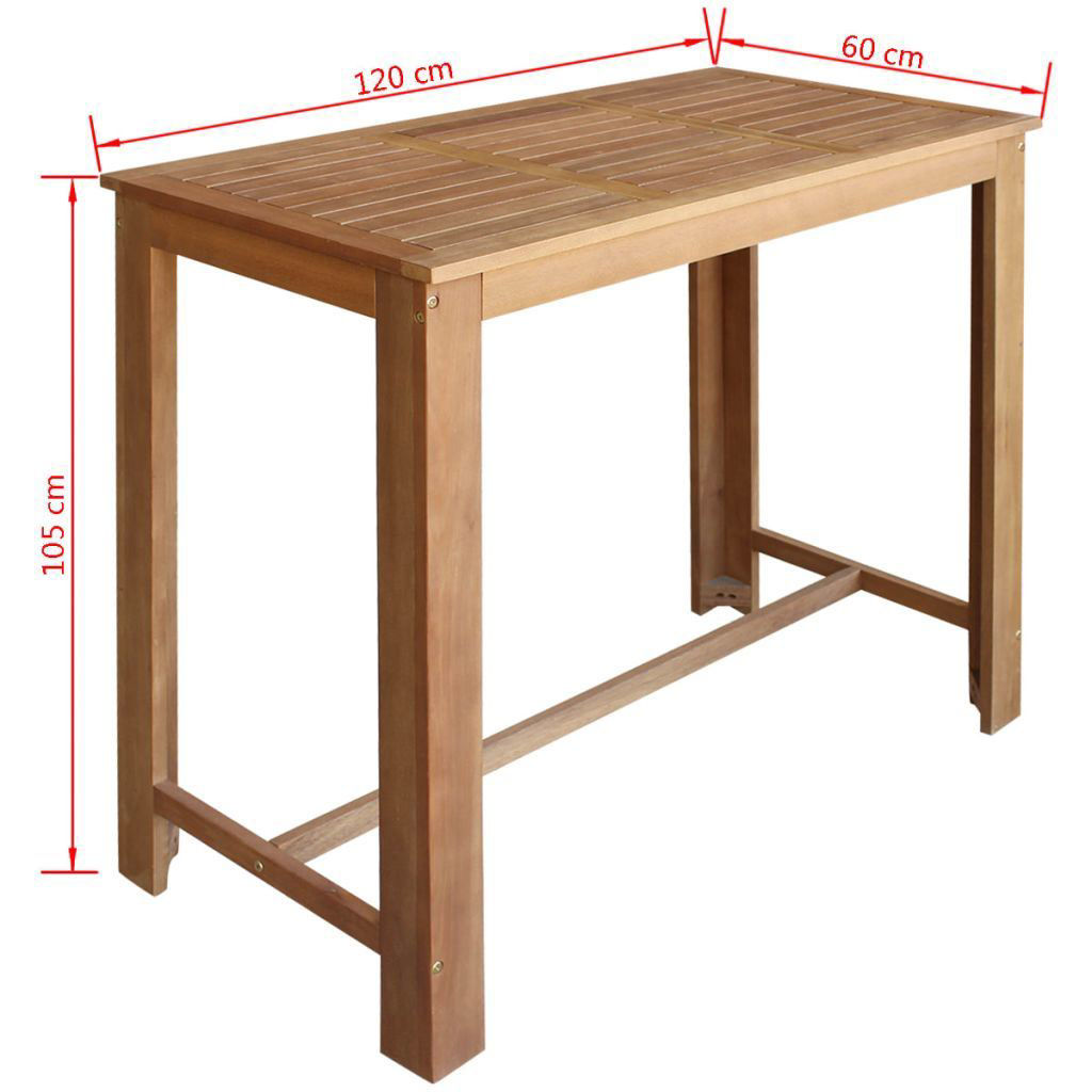 Picture of Dining Bar Table and Stool Set - 5pc Solid Acacia Wood