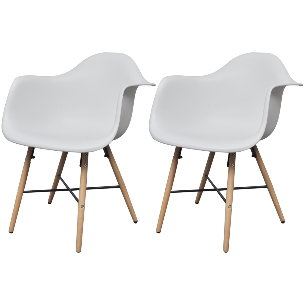 Picture of Dining Chair with Armrests and Beech Wood Legs - White 2 Pc