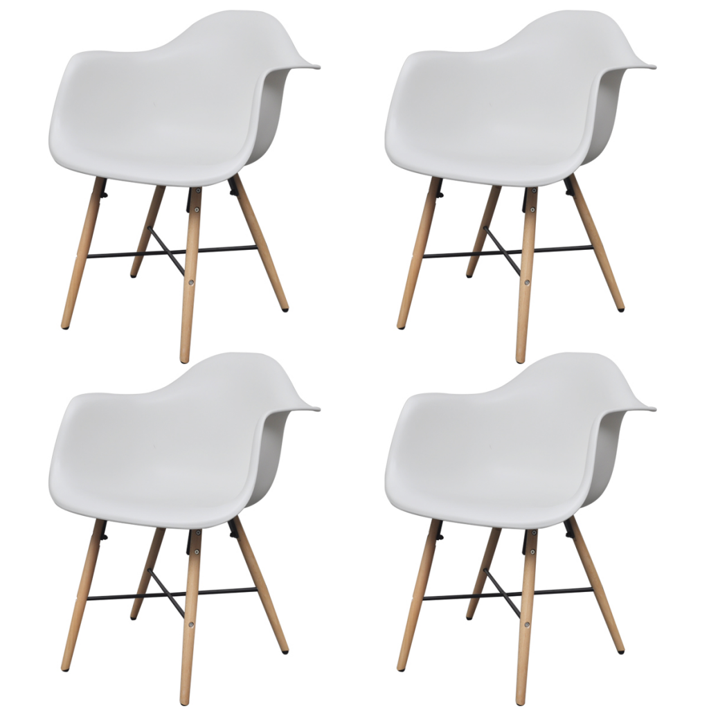 Picture of Dining Chair with Armrests and Beech Wood Legs - White 4 pc