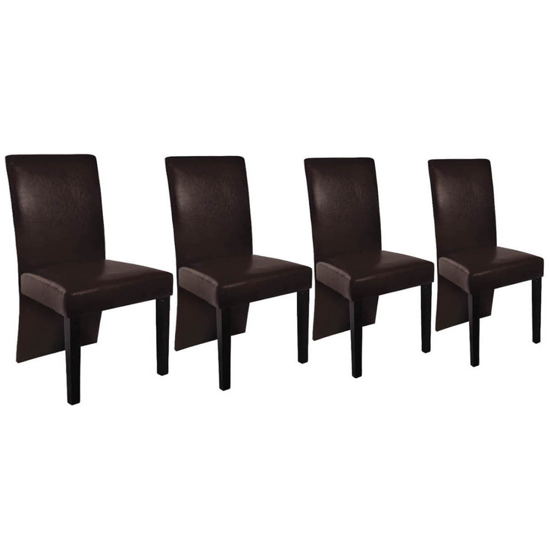 Picture of Dining Chair Wooden Artificial Leather - Brown 4 pcs
