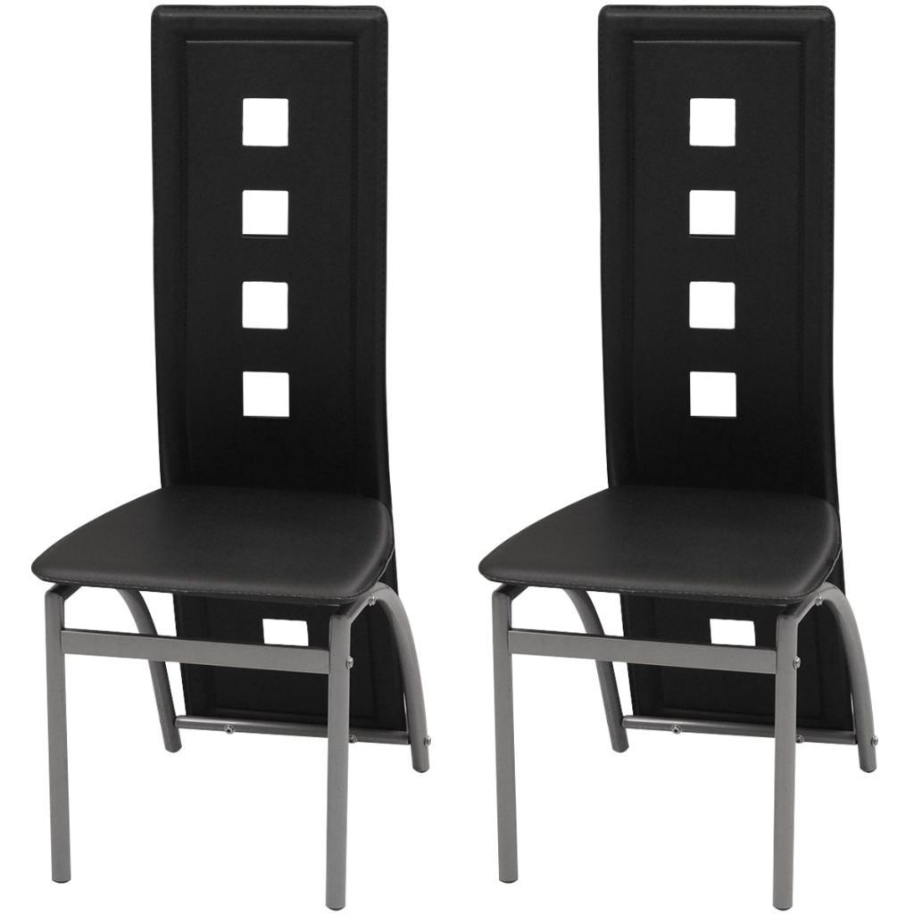 Picture of Dining Chairs 2 pcs Artificial Leather Black
