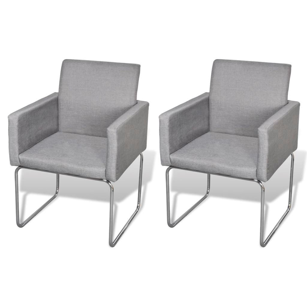 Picture of Dining Chairs 2 pcs Fabric Light Gray