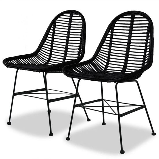 Picture of Dining Chairs 2 pcs Natural Rattan Black