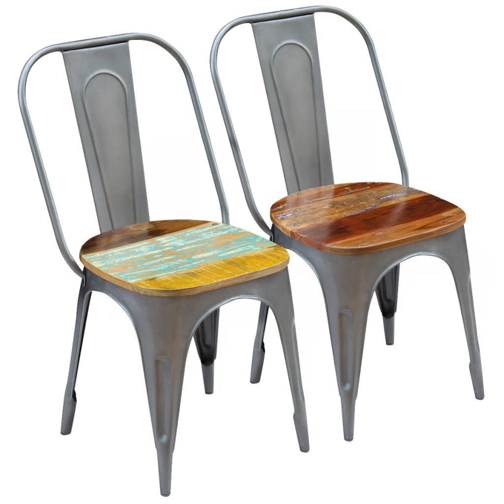 "Picture of Dining Chairs 2 pcs Solid Reclaimed Wood 18.5""x20.5""x35"""
