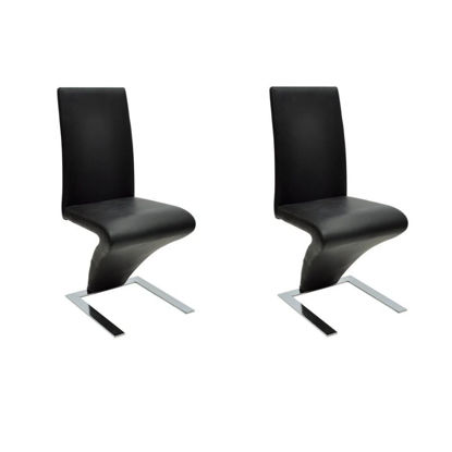 Picture of Dining Chairs 2 pcs with Zigzag Shape Black