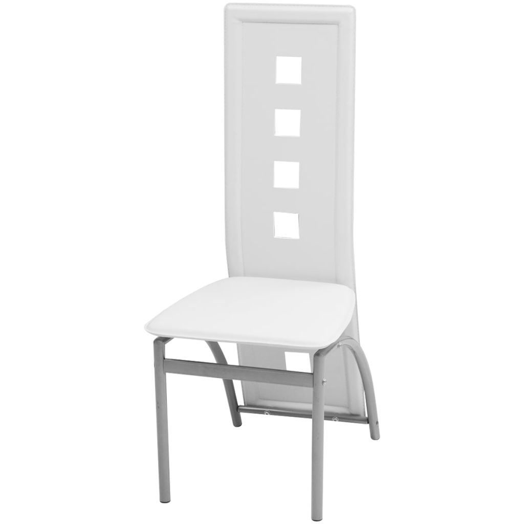 Picture of Dining Chairs 4 pcs Artificial Leather White