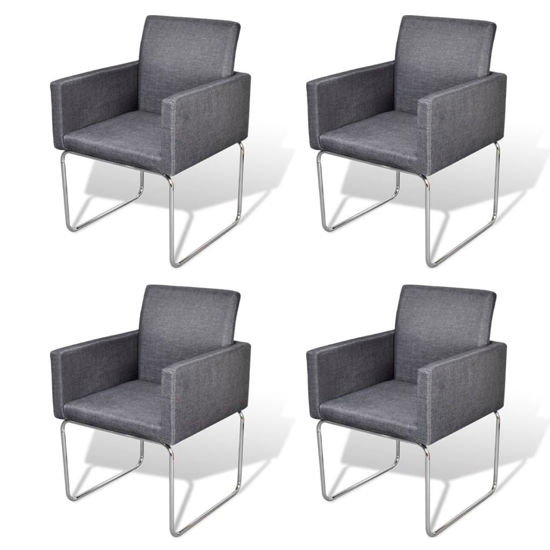 Picture of Dining Chairs 4 pcs Fabric Dark Gray