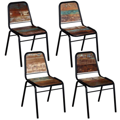 """Picture of Dining Chairs 4 pcs Solid Reclaimed Wood 17.3""""x23.2""""x35"""""""