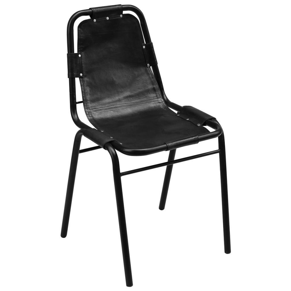 "Picture of Dining Chairs 6 pcs Black 19.3""x20.5""x34.6"" Real Leather"