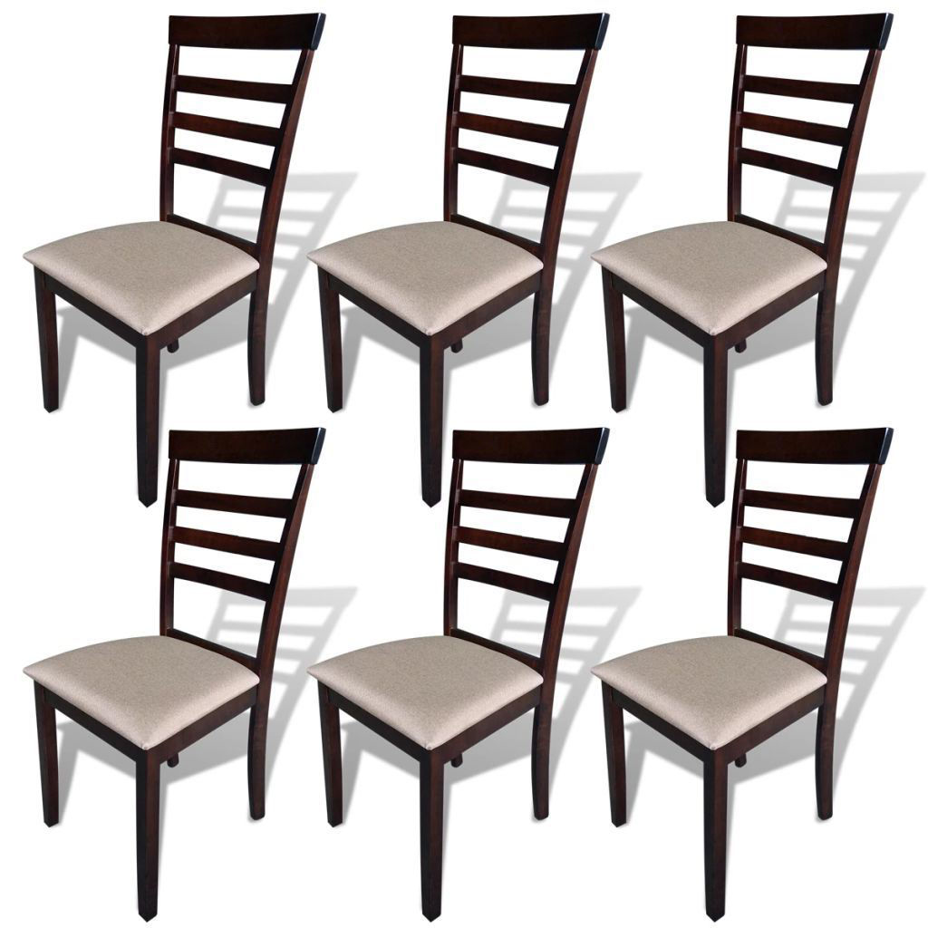 Picture of Dining Chairs 6 pcs Fabric Brown and Cream