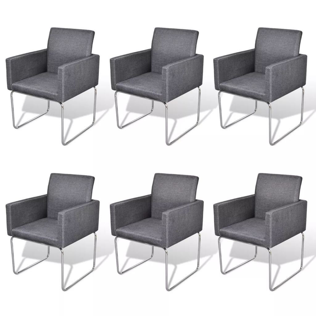 Picture of Dining Chairs 6 pcs Fabric Dark Gray