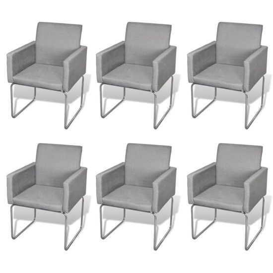 Picture of Dining Chairs 6 pcs Fabric Light Gray