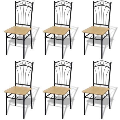 Picture of Dining Chairs 6 pcs Light Brown