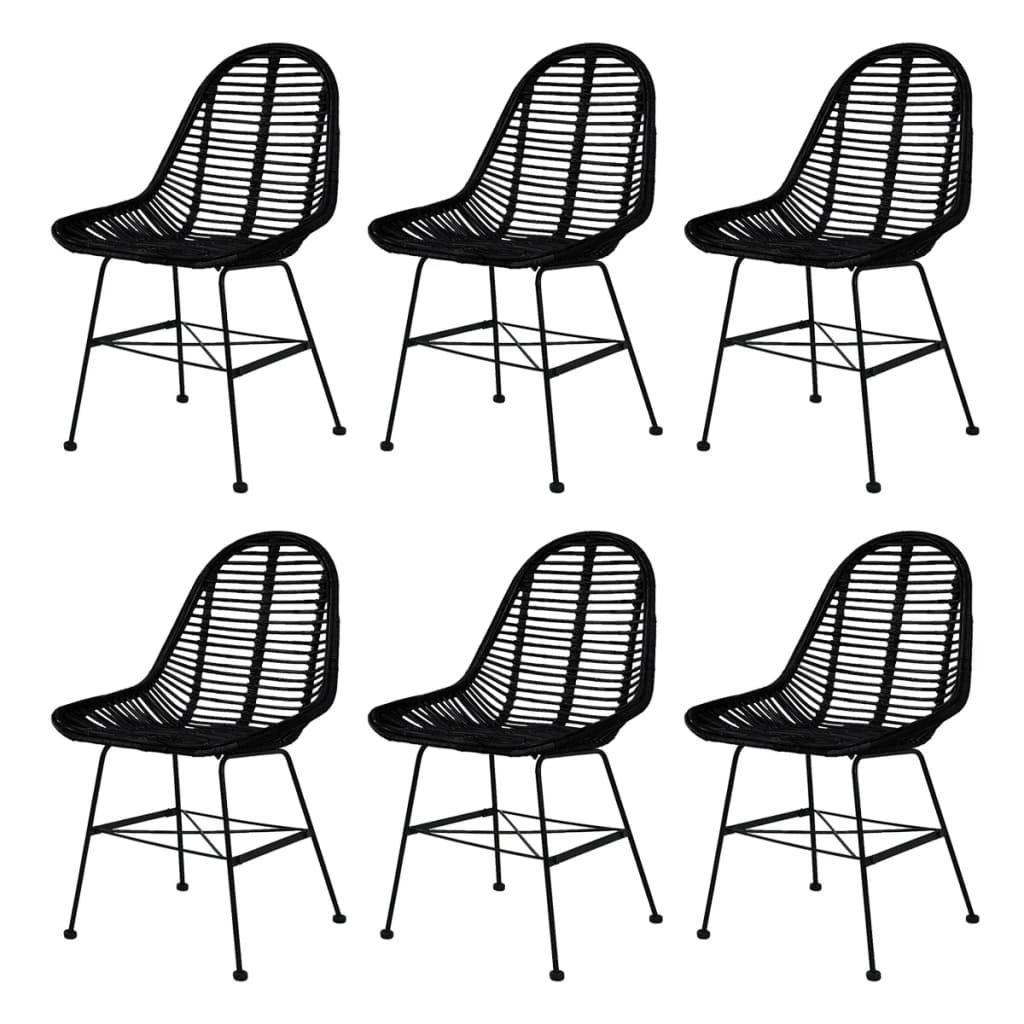 Picture of Dining Chairs 6 pcs Natural Rattan Black