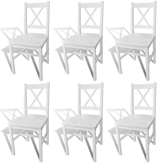 Picture of Dining Chairs 6 pcs Wood White