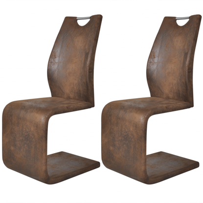Picture of Dining Chairs Cantilever - 2 pcs Brown