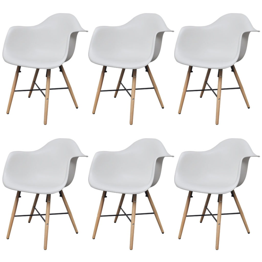 Picture of Dining Chairs with Armrests and Beech Wood Legs - 6 Pcs White