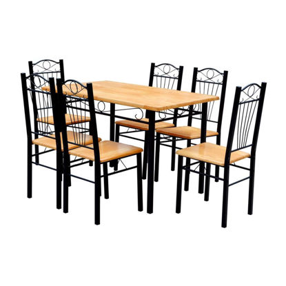Picture of Dining Table and 6 Chairs - Light Wood