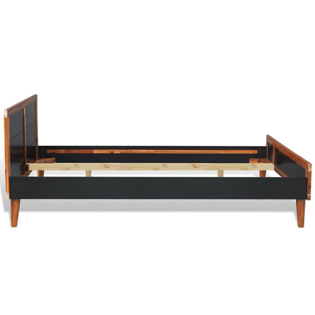 """Picture of Double Bed Frame Solid Acacia Wood 78"""" x 70"""" - Black"""