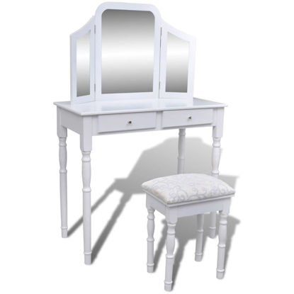 Picture of Dressing Table with 3 In 1 Mirror and Stool 2 Drawers White