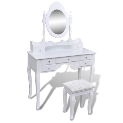 Picture of Dressing Table with Mirror and Stool 7 Drawers White XXL