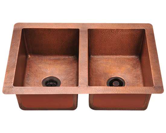 Picture of Equal Double Bowl Sink - Copper