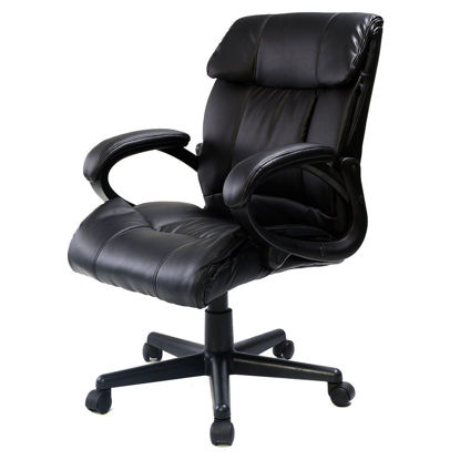 Picture of Executive Computer Desk Office Chair Ergonomic PU Leather - Black