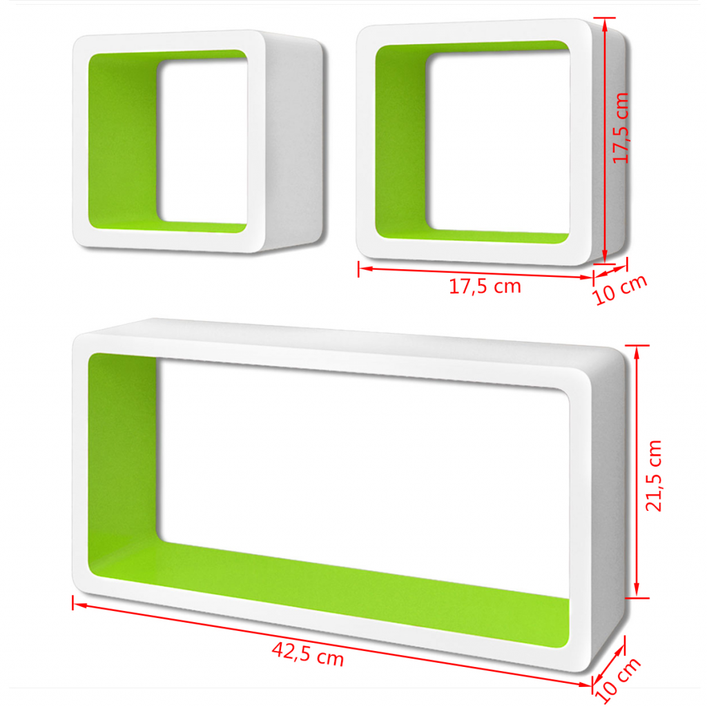 Picture of Floating Wall Display Shelves Cubes - 3 pcs White/Green