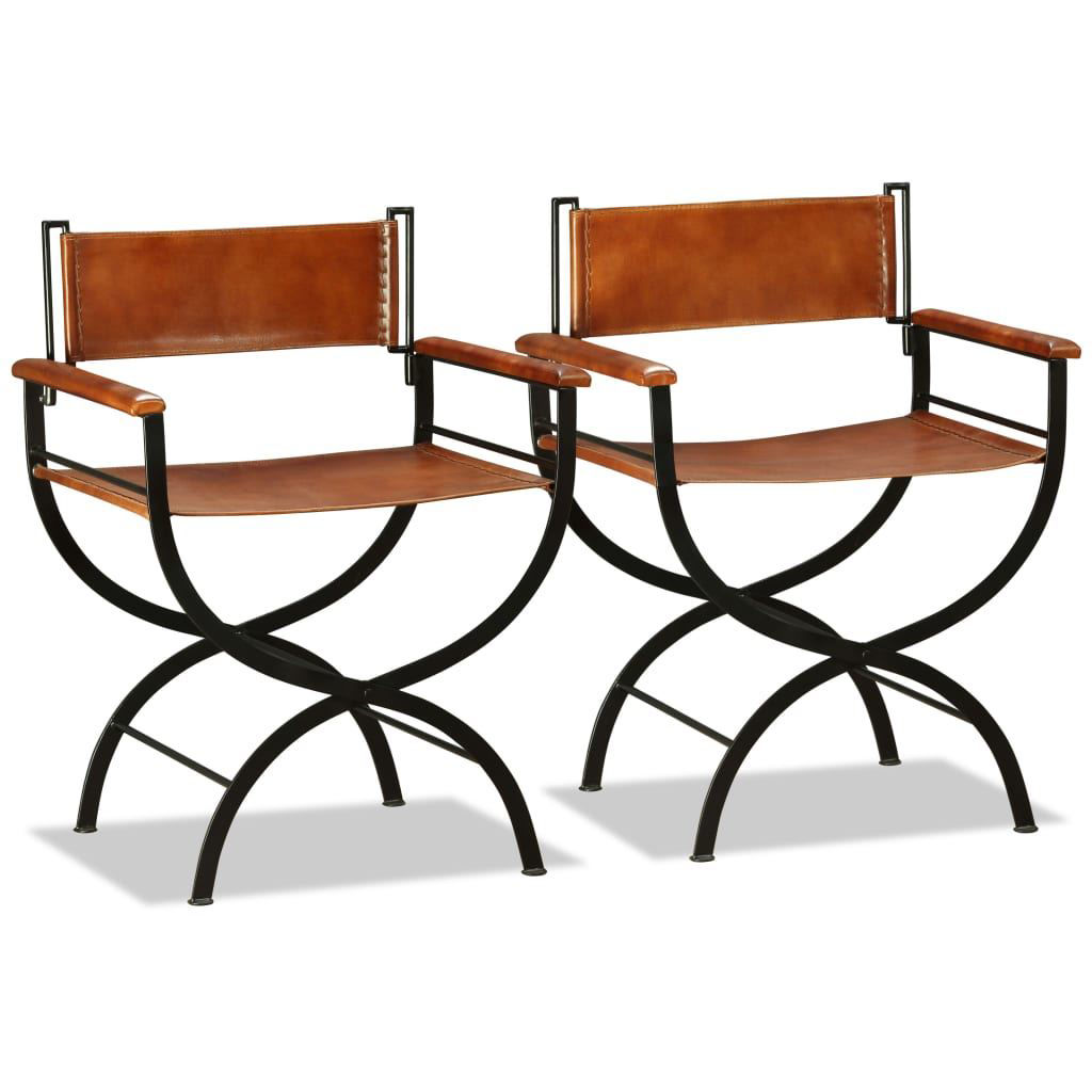 "Picture of Folding Chairs 2 pcs Genuine Leather 23.2""x18.9""x30.3"""